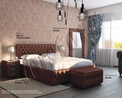 Кровать двуспальная Купол тысячелетия экокожа