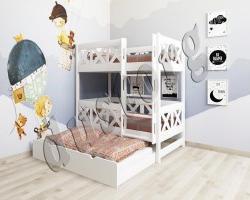 Трехъярусная кровать с выкатным спальным местом и ящиками (3 спальных места)