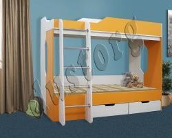 Кровать 2-х ярусная Скейт-5 Синий/Манго