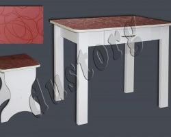 Кухонный стол с ящиком №3 Круги Бордо