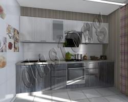 Модульная кухня Керри (черно/белый страйк)