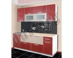 Кухонный гарнитур с пластиковыми фасадами Круги Бордо 1,5м