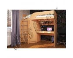Кровать чердак со шкафом Уголок школьника Скейт