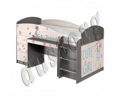 Кровать чердак с рабочей зоной Алиса Девочки