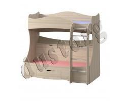 Кровать 2-х ярусная с ящиками Почемучка (Светлый шимо)