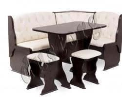 Кухонный уголок со столом и табуретами Орхидея Люкс с каретной стяжкой