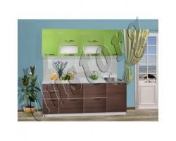 Модульная кухня Пластик Чибли (бежевый/коричневый/зеленый)